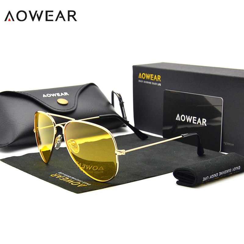 AOWEAR Brand <font><b>3025</b></font> Goggles Vision Night Glasses for Driving Polarized <font><b>Aviation</b></font> Yellow Sunglasses Men Night Vision Pilot Eyewear image