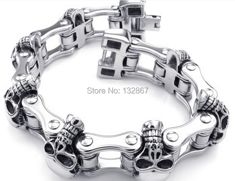 US $33 33 12% OFF|23mm Heavy Skull Stainless Steel Bracelet Men Jewelry  Cruiser Motorcycle Biker-in Chain & Link Bracelets from Jewelry &  Accessories