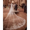 Bridal Veils Wedding Accessories Top Quality 4 Meter White/Ivory Cathedral Wedding Veil Lace Edge Bridal Veils With Comb