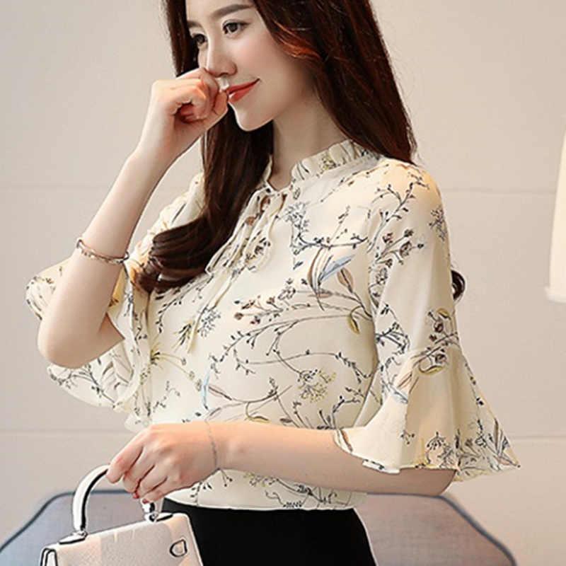 fe0d2a83532 Для женщин летние топы шифоновые блузки и рубашки дамы Цветочный принт  женственная блузка короткий рукав Blusas