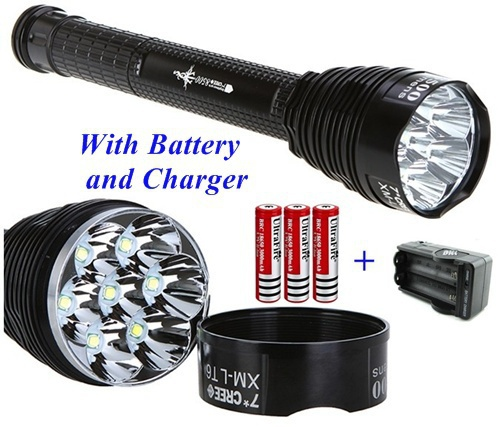 TR-J18 Flashlight 5 Mode 8000 Lumen 7x XM-L T6 LED Flashlight + 3*18650 Battery+ Charger 1pc trustfire tr j18 flashlight 5 mode 8000 lumens 7 x cree xm l t6 led waterproof torch come with 3 18650 battery charger