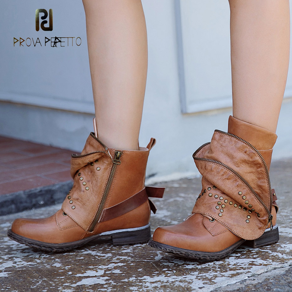 Prova Perfetto high quality do old genuine leather motorcycle boots women turn over design rivet platform flat short boots women prova perfetto 2018 newest genuine leather short boots women rivet belt strap platform flats knigh boots punk style boots female