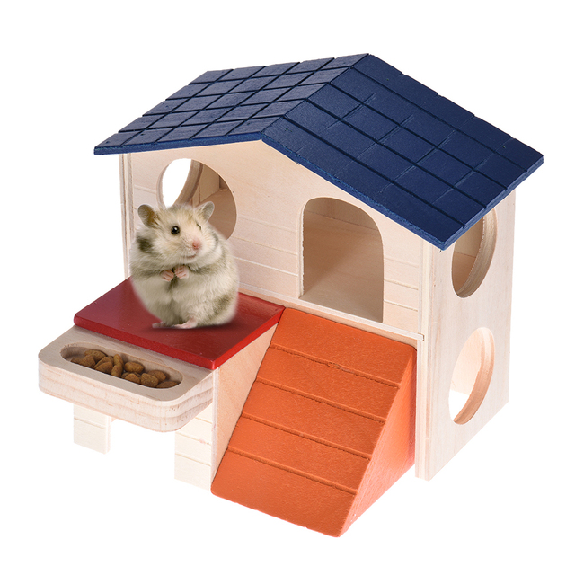 Natural Wooden Foldable Hamster House Home Hideout Hut Cabin 2 Layers Small Animal Pet Rat Mice