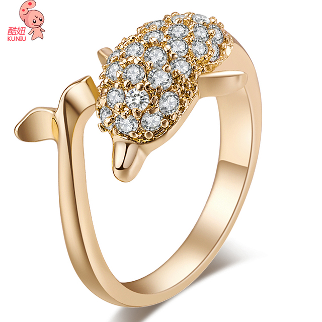 kuniu brand new hot womans fine ring trendy zircon two tone gold dolphin wedding ring - Dolphin Wedding Rings