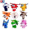 8 Unids/set AULDEY Súper Alas Avión Mini ABS Transformación Robot juguetes Figuras de Acción Super Ala Chorro de Dibujos Animados Los Niños Embroma el Regalo