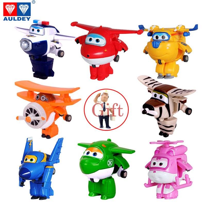 Genuino AULDEY Mini Super Wings deformación aeroplano Robot figuras de acción Super Wing transformación juguetes para niños regalo