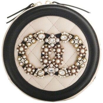 2020 Lady Handbags Women Messenger Pearl Diamond Black Bags PU Leather Circular Zipper Ladies Min Party Diamond Lattice Bag