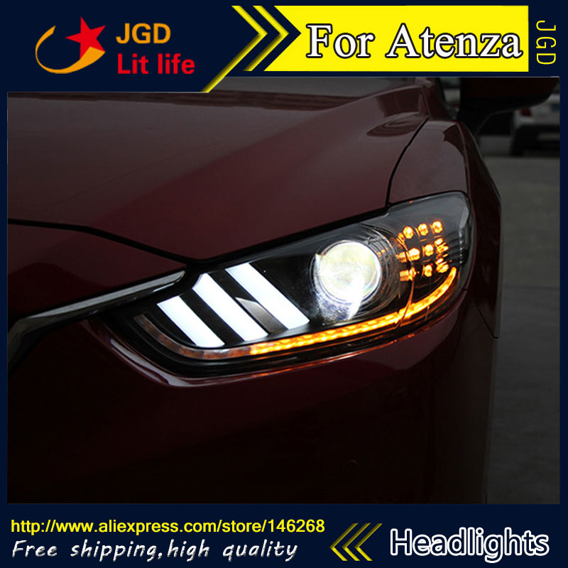 Free shipping ! Car styling LED HID Rio LED headlights Head Lamp case for Mazda Mazda6 Atenza 2014 2015 Bi-Xenon Lens low beam