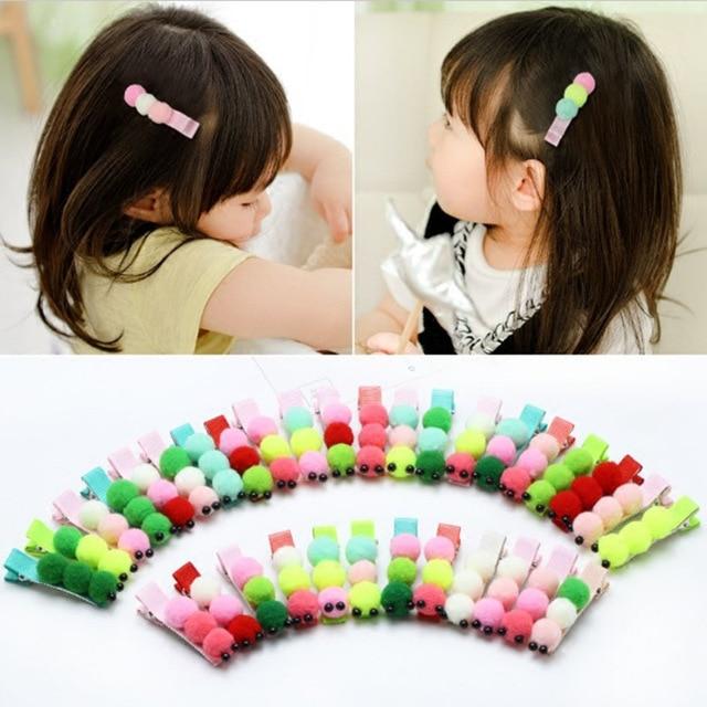 60pcs/lot Fur PomPom Caterpillar Hair Clip Classic Cartoon Hairpin For Women Girls Wholesale Cut Hairpins