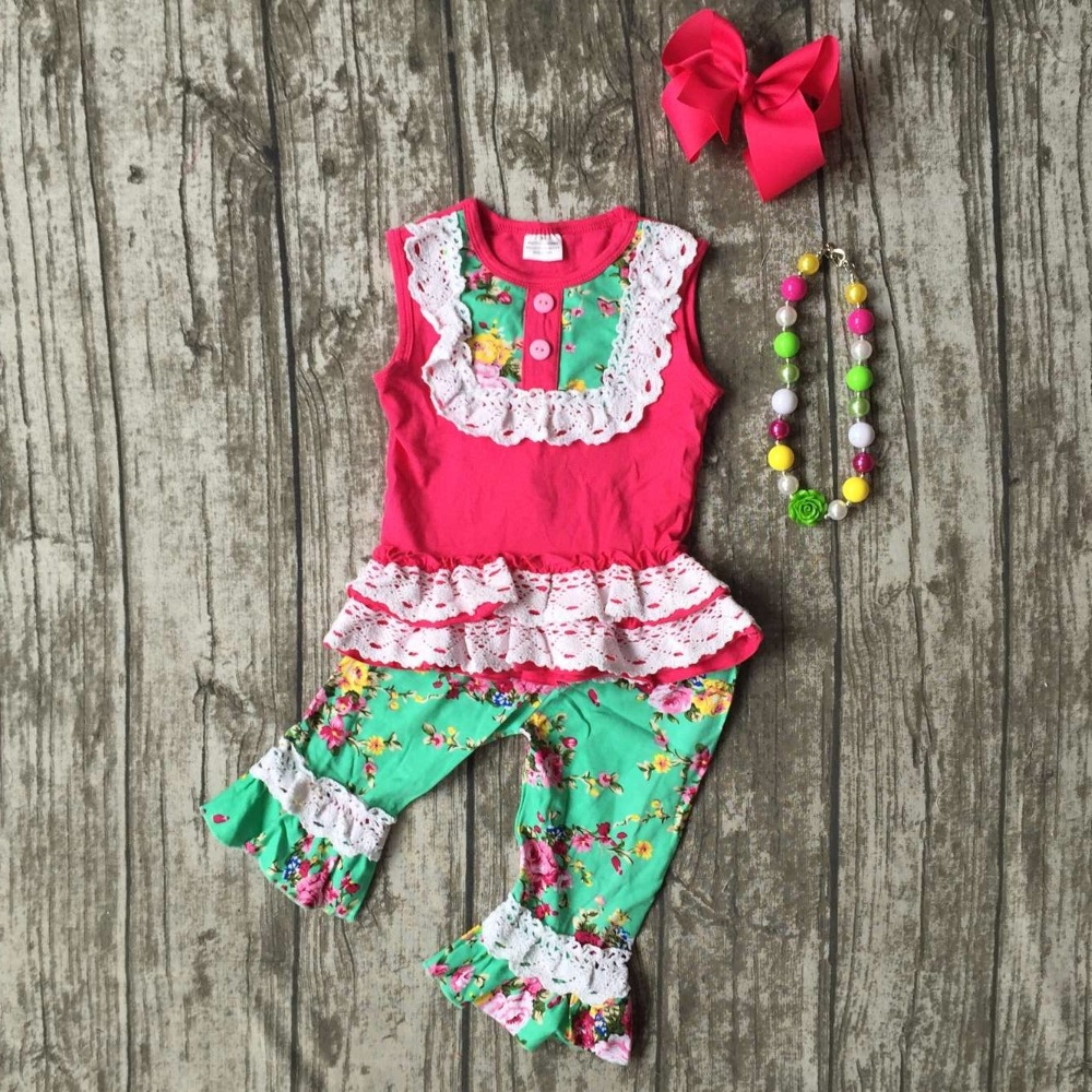 summer baby girls outifts floral clothes hot pink green boutique outfits lace ruffle capris cotton sets with match accessories lole капри lsw1349 lively capris xs blue corn