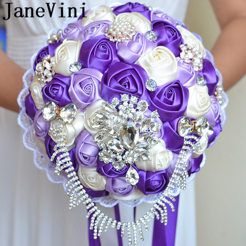 JaneVini Bling Beaded Wedding Bridal Bouquets With Crystals Purple Rose Satin Bride Holding Flowers Rhinestones Flores Boda 2019