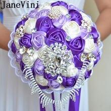 Свадебные букеты с кристаллами janevini фиолетовые розовые сатиновые