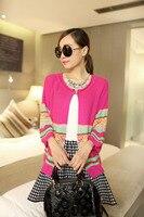 High Quality Women Loose Cut Short Knitted Cardigan Folk Custom Striped Pattern Knitwear Cardigan Design 3