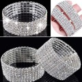 Fashion 4/5/8 Rows Full Crystal Rhinestone Elastic Bracelet Silver Golden Bangle Bling Wristband Women Wedding Bridal Jewelry