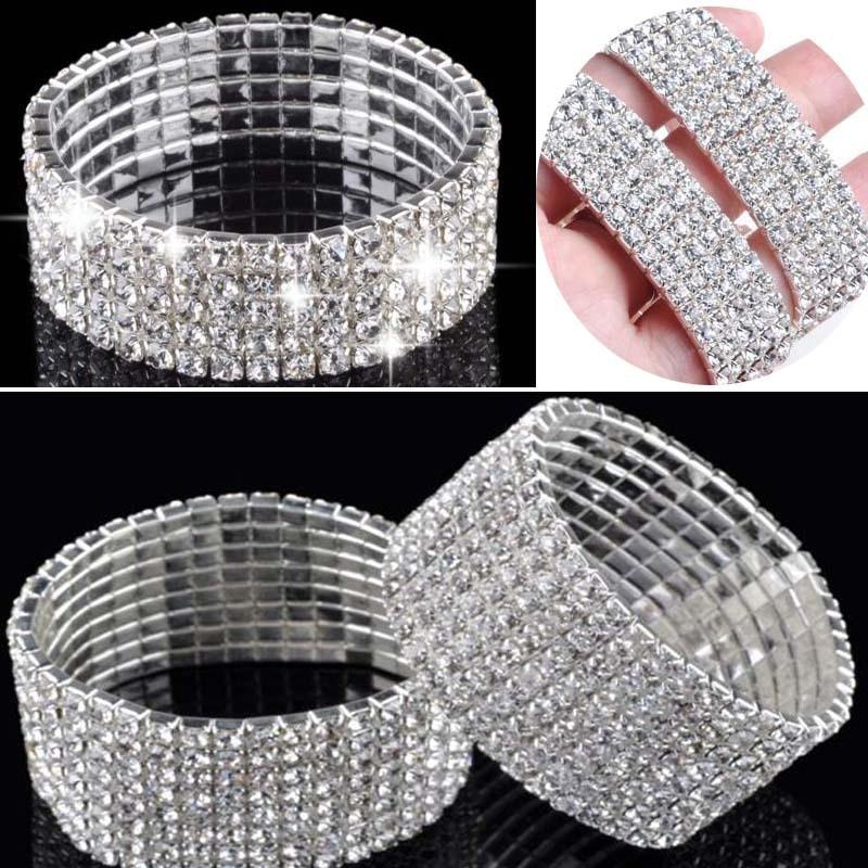 Fashion 4/5/8 Rows Full Crystal Rhinestone Elastic Bracelet Silver Golden Bangle Bling Wristband Women Wedding Bridal Jewelry