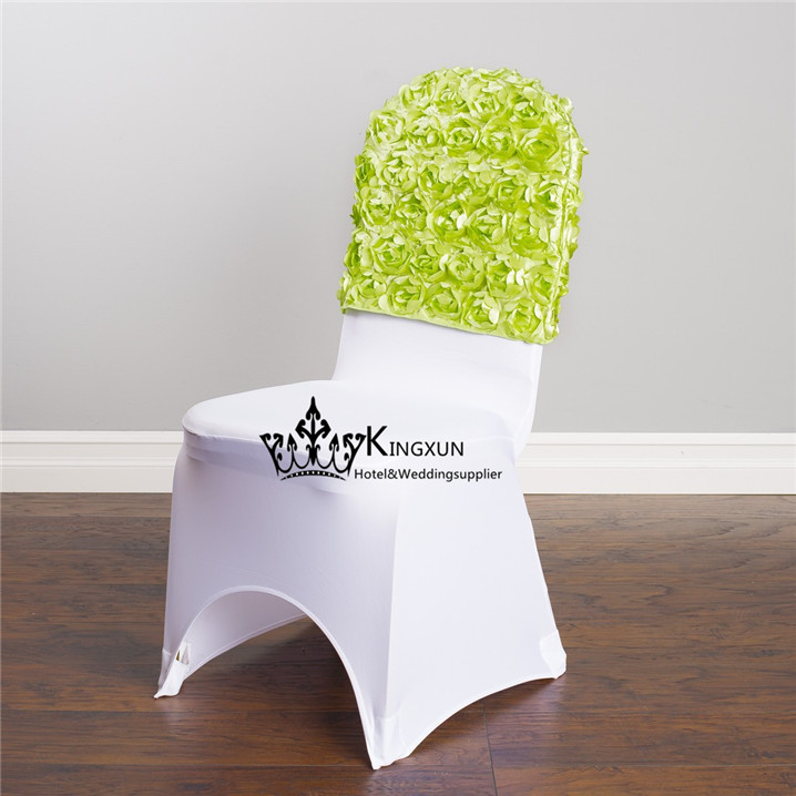Free Shipping Apple Green Color Satin Rosette Chair Cap  Chair Hood For Chair Cover