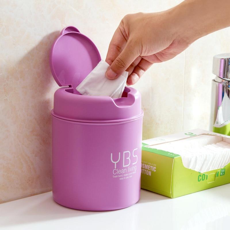 New arrival mini desktop wave cover trash can with lid PP durable plastic wastebasket Car trash storage organization