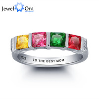 Personalized Ring Colorful 4 Stones 925 Sterling Silver Jewelry Valentine S Day Free Gift Box Silveren