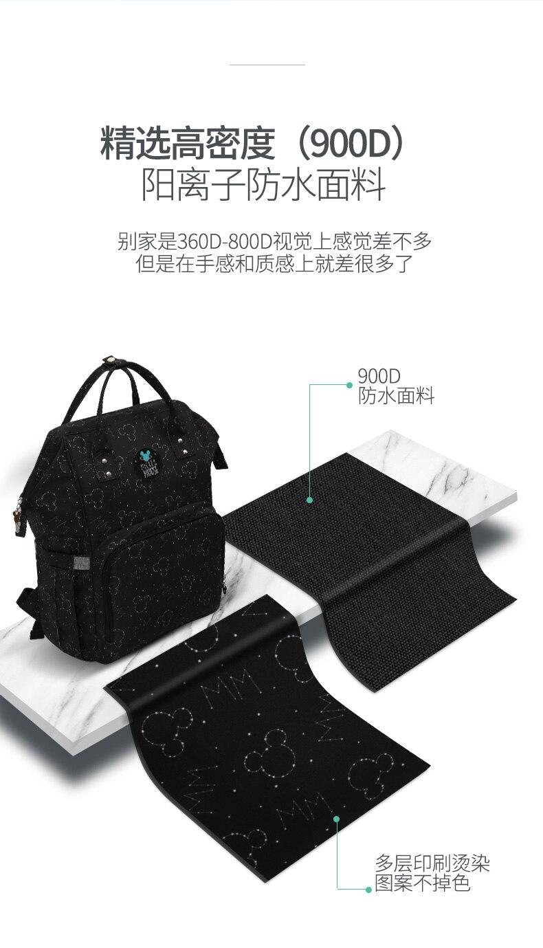 HTB1J9G2lBnTBKNjSZPfq6zf1XXaW Disney Backpacks Mummy Bag Multifunction Large Capacity Double Shoulder Travel bags Baby Handbag Bottle Insulation Chair Bags