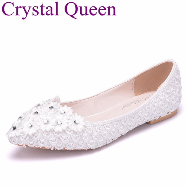 Crystal Queen White Lace Wedding Bridal Flats Shoes Fish Net Lace Flats  Pointed Toe Ballet Flats Casual Shoes Plus Size 351a3c4b4ffe