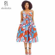 African dresses for women sexy sling dress ankara cotton wax print african clothes