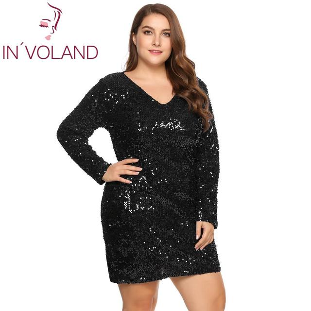 IN'VOLAND Women's  Dress Plus Size Sexy Deep V-Neck Long Sleeve Sequined Bodycon Cocktail Club Sheath Loose Ladies Dresses 1