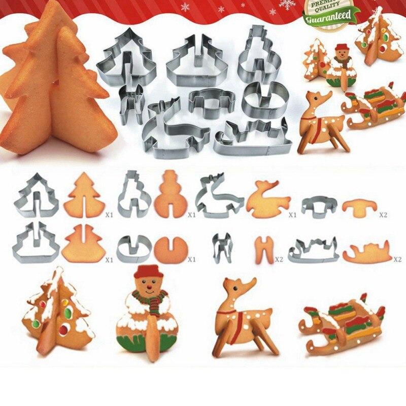 Творческий 3D Chirstmas сценарий набор печенья Нержавеющаясталь снеговик/Рождество дерево/оленя/sled забавные Стиль