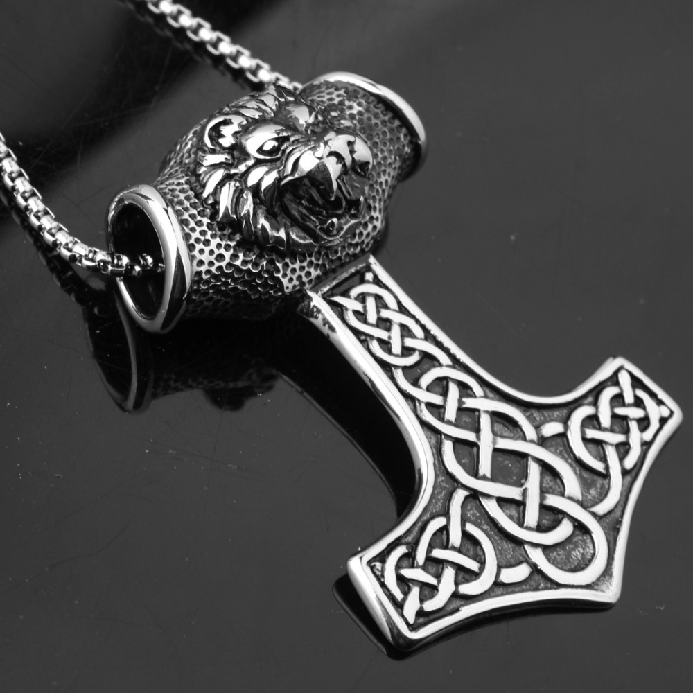 New Polished Mens Boys Jewelry Stainless Steel Silver Color Viking Mjolnir Rune Thor Hammer Box Chain Lion Head Pendant Necklace|Pendants|   - AliExpress