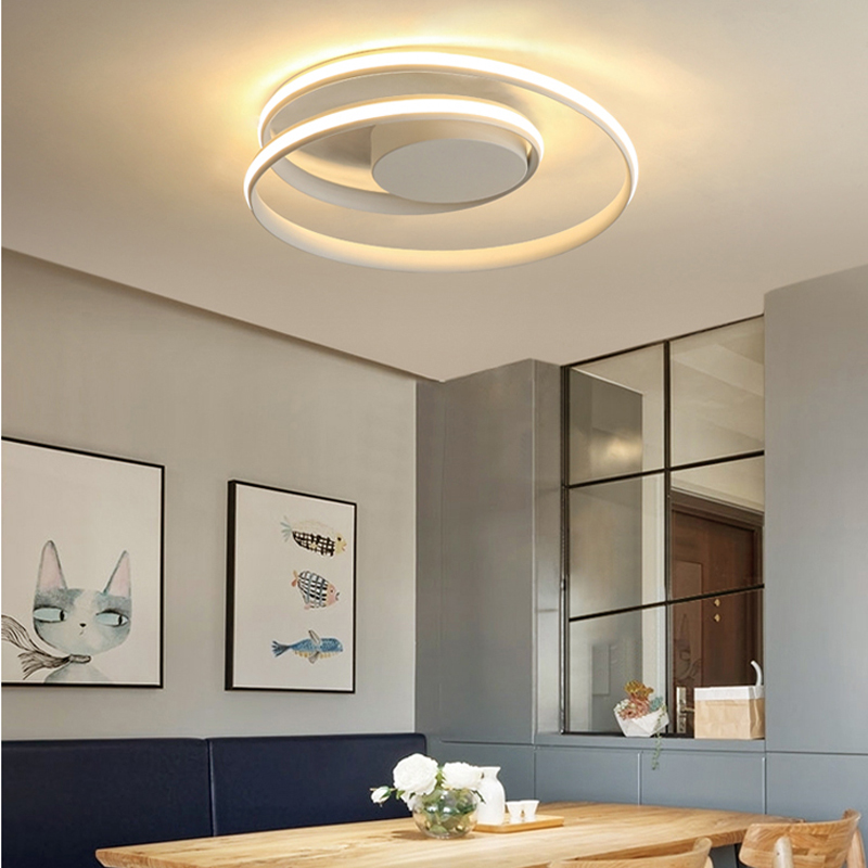 AC85-265V Ceiling Lights LED Lamp For Living Room Bedroom Study Room Home  Modern White Or Black Surface Mounted Ceiling Lamp