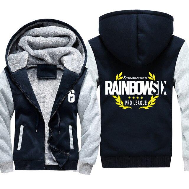 High-quality Winter Rainbow Six Siege Hoodie Men's Winter Casual Super Warm Thicken Fleece Zip Up Sweatshirt Coat plus size 5XL 3
