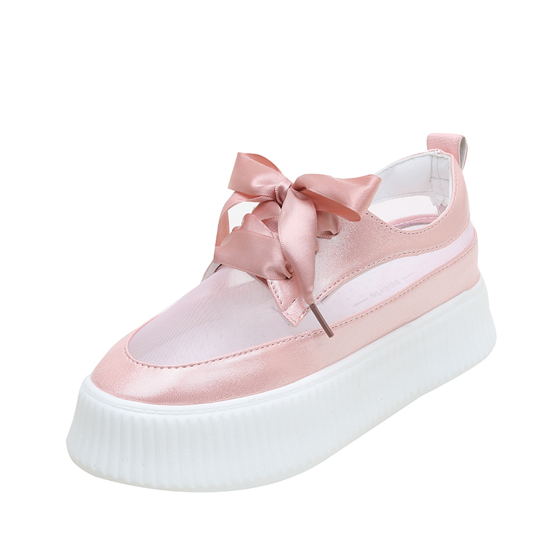 Fujin Flats Women Summer Platform Shoes Fashion Causal Mesh Ventilation Shoes for Female Hollow Flats Thick Bottom 4 Color in Women 39 s Flats from Shoes
