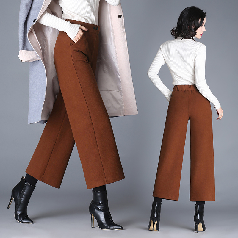 2018 New Arrival Winter Warm Women Ankle Length Woolen   Pant   Thick High Waist Trousers Loose Work Lady Office Wear   Wide     Leg     Pants