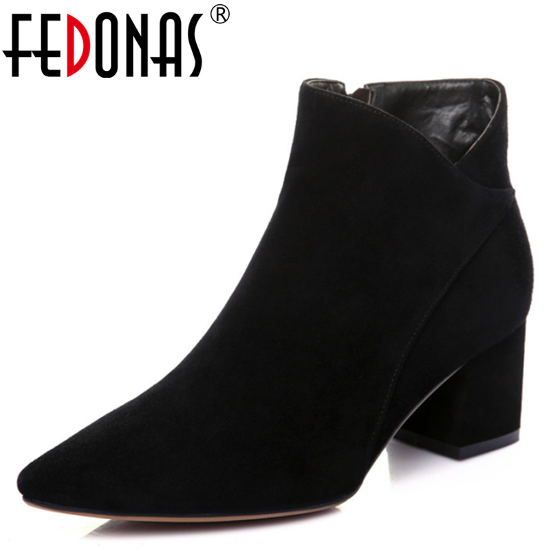 FEDONAS 100% Sheep Suede Women Ankle Boots Genuine Leather Side Zipper High Heel Pumps Pointed Toe New Fashion Woman Shoes Boots new arrival superstar genuine leather chelsea boots women round toe solid thick heel runway model nude zipper mid calf boots l63