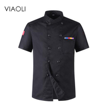 2017New High Quality Chef Uniforms Clothing Short Sleeve Men Food Services Cooking Clothes 5-color Big Size Uniform Chef Jackets