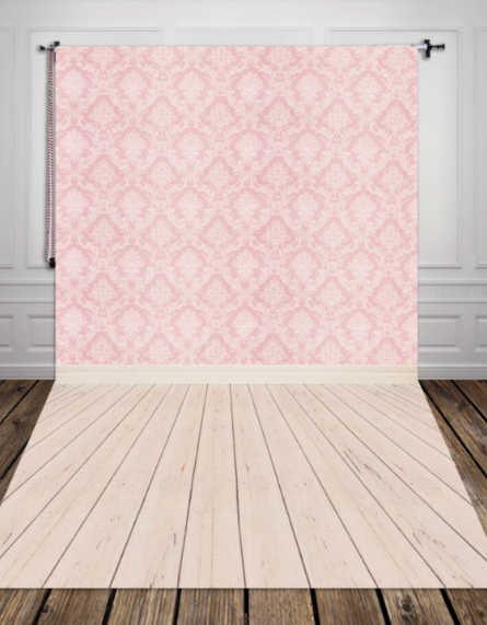 5x10ft cotton polyester photography backdrop pink damask wallpaper backdrops for baby shower photo booth wood floor XT 2341