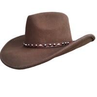 Brown Cowboy Hat Wool Felt Western Hat For Men Women