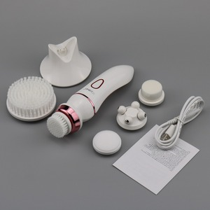 Image 2 - Профессиональная 5в1 Очищающая щетка для лица для женщин, очищающее средство для лица, электрическая щетка для лица, устройство 100 240 В, перезаряжаемая