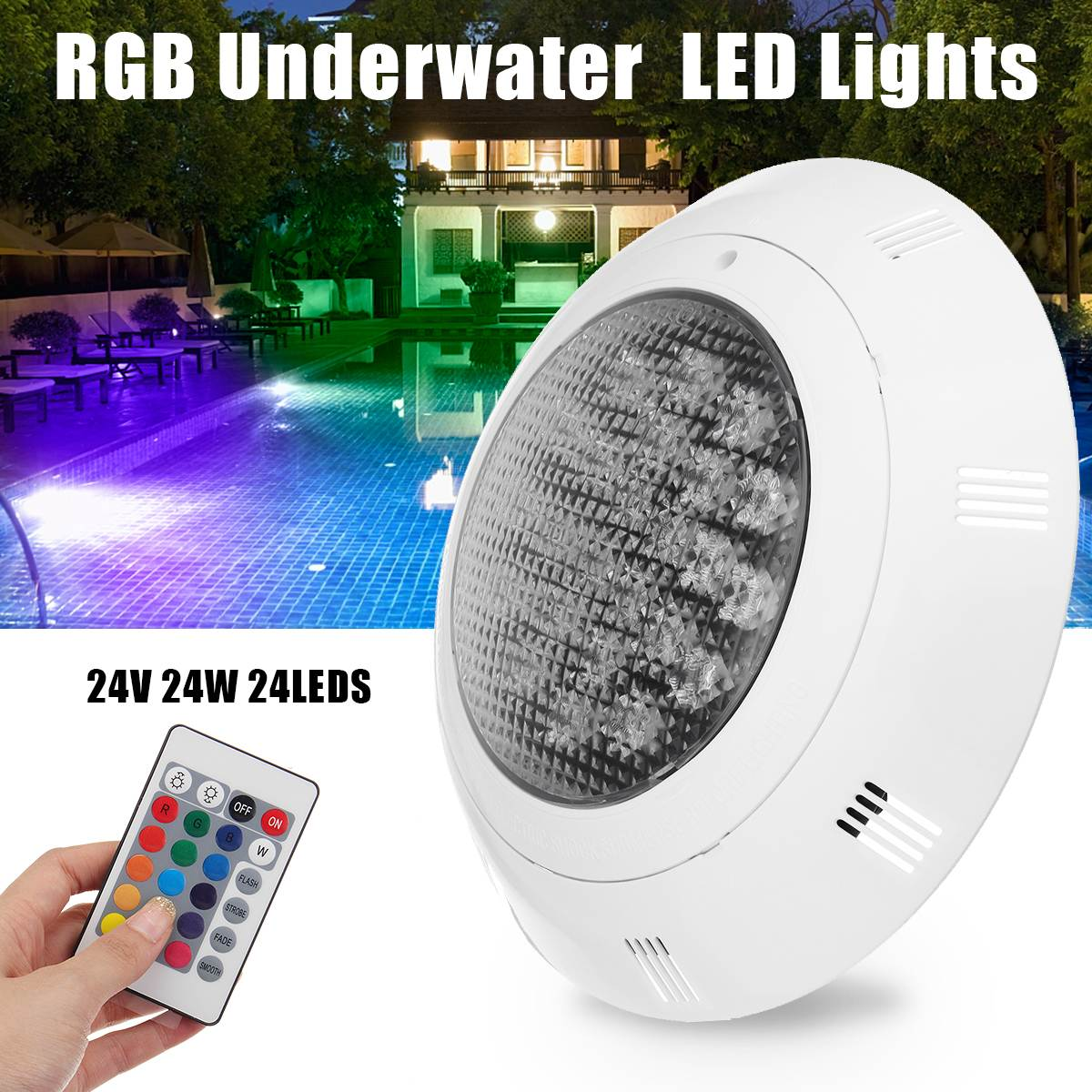7-Color Swimming Pool LED Bright Light 24W RGB Underwater Lamp With Remote Controller IP68 Waterproof Outdoor Lamp Pond Light 16w led rgb underwater light waterproof ip68 fountain swimming pool lamp colorful change with 24key ir remote