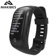 Makibes G03 Plus Kleur Screen Mannen Fitness Tracker Polsband IP68 Waterdichte GPS Smart Band horloges armband voor Android ios