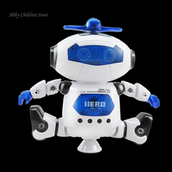 Robot Toy 360 Rotating Dancer Robot  Musical Walk Lighten Electronic Toy Robot Christmas Birthday Gift Toy For Child Kid Boy