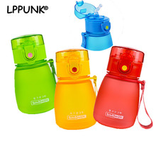 Hot sale 300ml bpa-free plastic straw kettle Children FROSTED kettle my water BABY's stuff portable bottle with rope