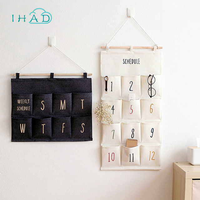 Simple Multi Layer Wall Hanging Bag Key Home Small Objects Organizer Cloth Art Storage