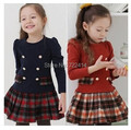 Children clothing new 2015 autumn winter girls plaid long-sleeve princess dress kids girl's tutu dress free shipping