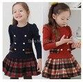 Crianças outono inverno meninas xadrez de manga comprida vestido de princesa tutu vestido de crianças
