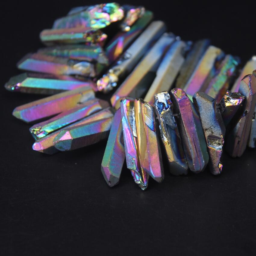 15 5 quot strand Rainbow Titanium Top Drilled Raw Crystal Point Beads Crystal Quartz Stick Graduated Pendant Beads For Jewelry Making in Beads from Jewelry amp Accessories