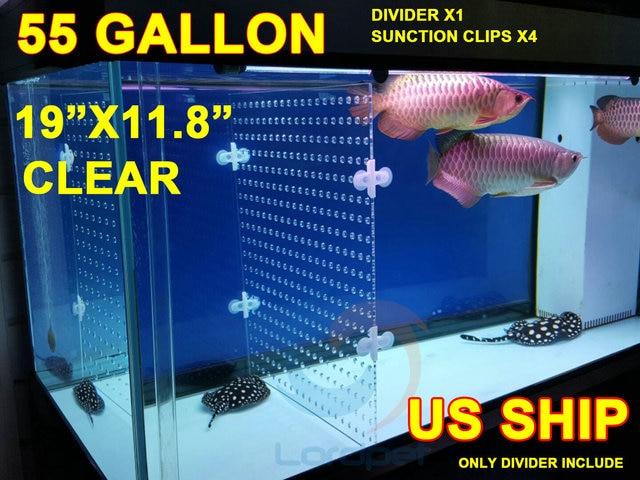 Aquarium Clear Acrylic Divider 024 Holes 012 Thick 4pcs Suction Clips For 55 Gallon Tank Betta Fish Guppies US Ship