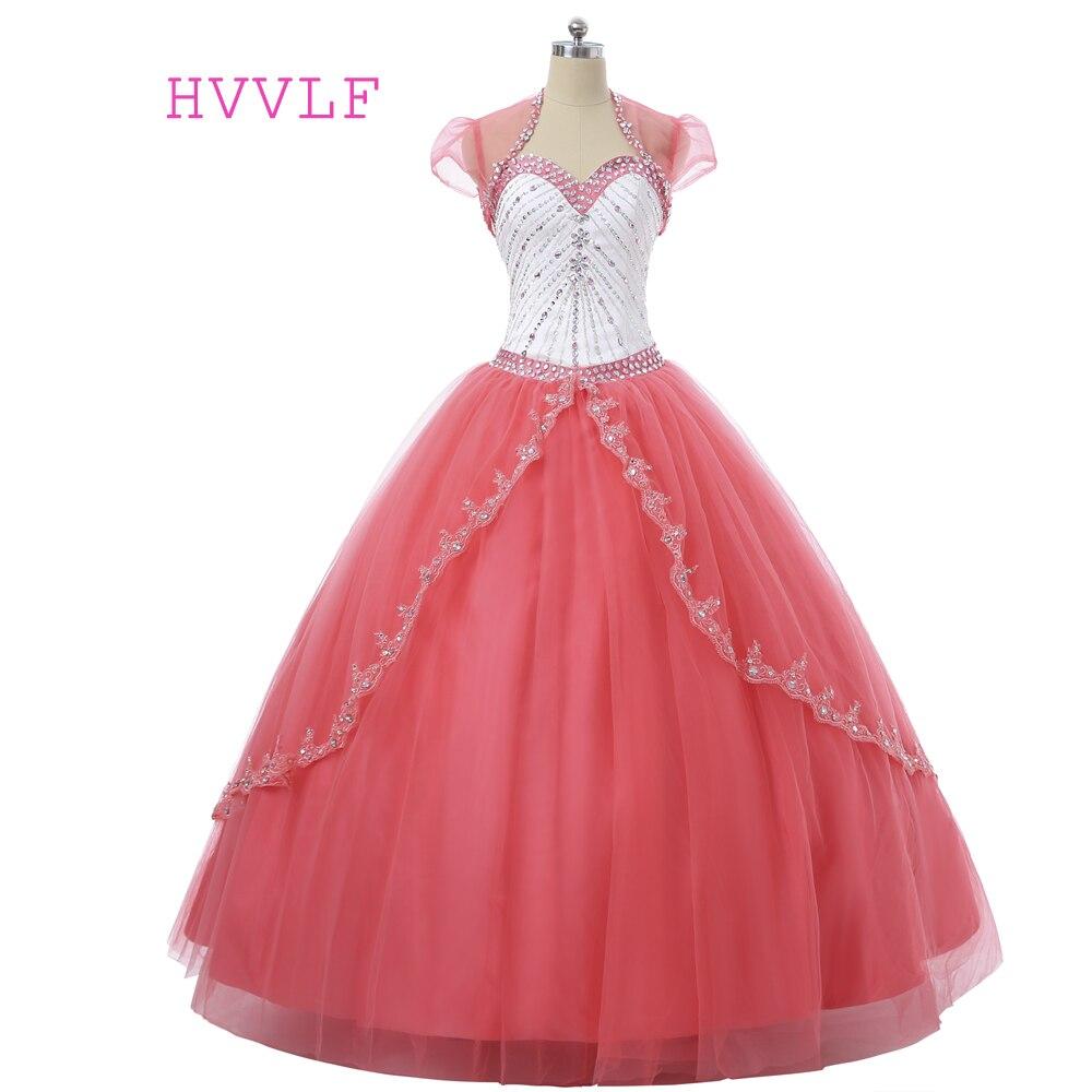 Corail Quinceanera robes 2019 robe de bal chérie étage longueur Tulle cristaux perlé avec veste pas cher doux 16 robes