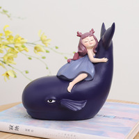 Lovely Girl Figurines Miniatures Fairy Garden Plant Resin Craft Desktop Ornament Child Bedroom Home Office Decoration Toy Gifts