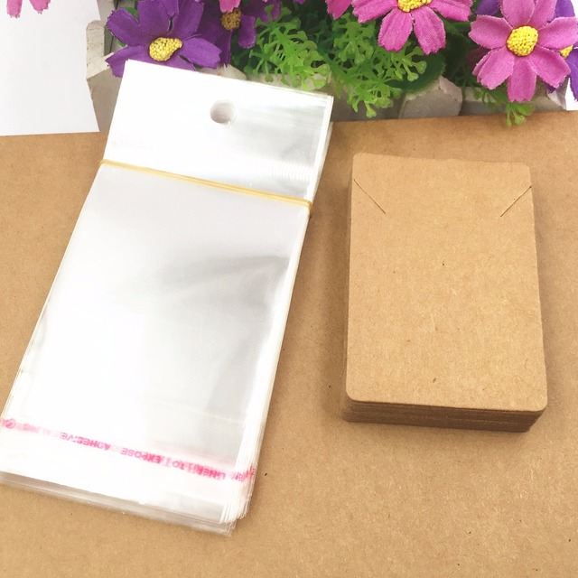 200pcs Kraft Necklace Cards+200pcs OPPBags,Paper Jewelry Cards, Necklace Vintage Classic Card,Packaging Accessories Display Card