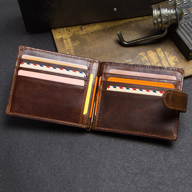 CONTACT'S cow leather money clip men card wallet thin money clamp for 10 cards male bifold credit card case with zip coin pocket 5